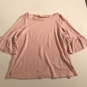 Pleione Ribbed Bell Sleeve Blush Blouse Shirt Top